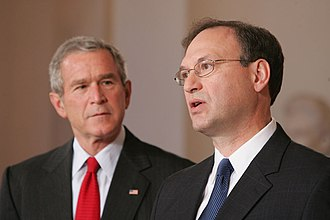 With President George W. Bush looking on, Alito acknowledges his nomination. With President George W. Bush Looking on, Judge Samuel A. Alito Acknowledges his Nomination as Associate Justice of the U.S. Supreme Court.jpg
