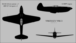 Yakovlev Yak-3 three-view silhouette.png