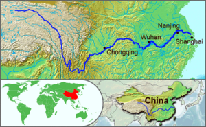 The course of the Yangtze River through China