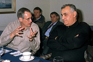 Yitzhak Mordechai - RMDL Gregory Johnson, Commander, Carrier Group 8, briefs Minister of Defense Yitzhak Mordechai during a tour of the nuclear powered aircraft carrier, 1997