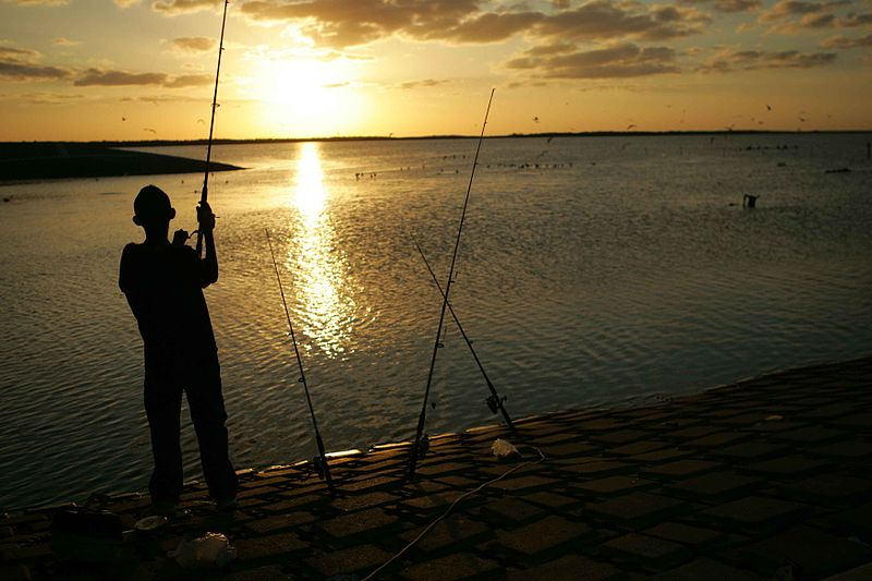 File:Young man stands fishing at sunset.jpg