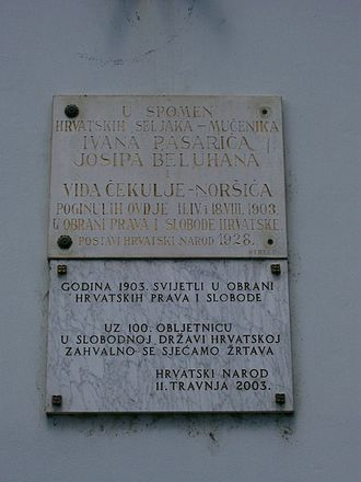 Zaprešić - Memorial panels dedicated to martyrdom of local peasants in 1903