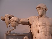 Statue of Apollo from the west pediment of the Temple of Zeus at Olympia.