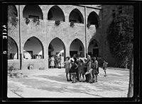 Zionist activities around Haifa. Haifa, a primary school. Using a picturesque old Arab bld'g (i.e., building) LOC matpc.15204.jpg