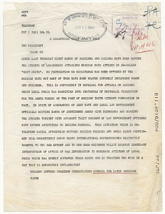 Zoot Suit Riots - The Council for Latin American Youth sent this telegram to President Franklin Roosevelt urging his attention to the riots in Los Angeles.National Archives, General Records of the Department of State