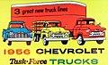 """3 great new truck lines"" ""1956 CHEVROLET Task Force TRUCKS"" art detail, 1956 - Jack Dankel Chevrolet - Matchcover - Allentown PA (cropped).jpg"