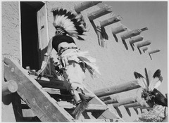 """Dance, San Ildefonso Pueblo, New Mexico, 1942,"" two Indians in headdress ascending stairs to house., 1942 - NARA - 519981.tif"