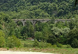 Rail bridge of Belgrade-Bar train track near Ćelije Monastery