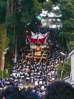 View of Ōmiya Hachiman Shrine's Autumn Festival, a famous event in Miki City