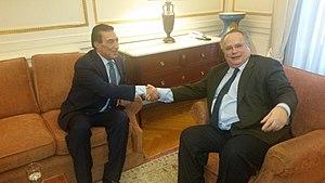 Atef Tarawneh - Image: Συνάντηση ΥΠΕΞ, Ν. Κοτζιά, με τον Πρόεδρο της Βουλής της Ιορδανίας, A. Tarawneh (25380663511)