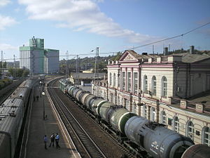 Novocherkassk railway station - View of the station from the walking bridge