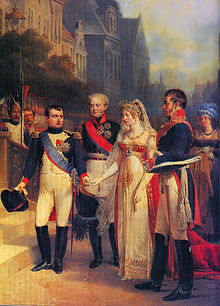 Napoleon, Alexander I of Russia, Queen Louise, and Frederick William in Tilsit, 1807. Painted by Nicolas Gosse, c. 1900 (Source: Wikimedia)
