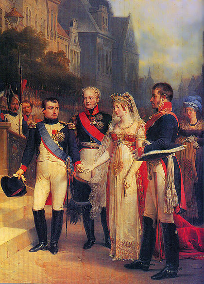 Napoleon demanded that Alexander I of Russia and Frederick William III of Prussia meet him at Tilsit in July 1807. Til'zit. 1807.jpg