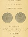 """""""FACSIMILE OF THE GOLD MEDAL STRUCK FOR AND WORN BY THE MEMBERS OF THE SOCIETY OF THE FRIENDLY SONS OF ST. PATRICK 1771"""" - A (IA briefaccountofso00hoods) (page 6 crop).jpg"""