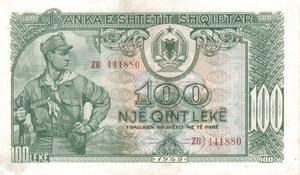 100 lekë de Albania en 1949 Obverse.png