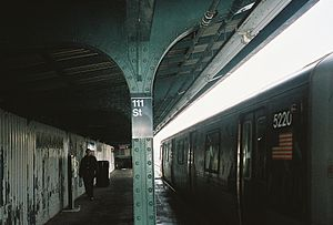 111th Street (IND Fulton Street Line) - Lefferts Boulevard-bound A train departing