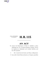 116th United States Congress H. R. 0000115 (1st session) - Protecting Diplomats from Surveillance Through Consumer Devices Act B - Engrossed in House.pdf
