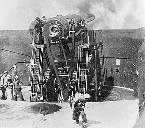 12-inch gun M1895 - 12-inch M1895 coastal defense gun being fired by lanyard