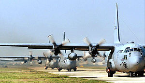 158th Airlift Squadron - C-130s Taxiing.jpg