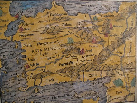 Photo of a 15th-century map showing Lydia 15th century map of Turkey region.jpg