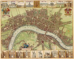 A map depicting a wide river, streets with their names and plenty of individual lots and buildings. Above and below the map itself are 19 drawings of buildings and statues.