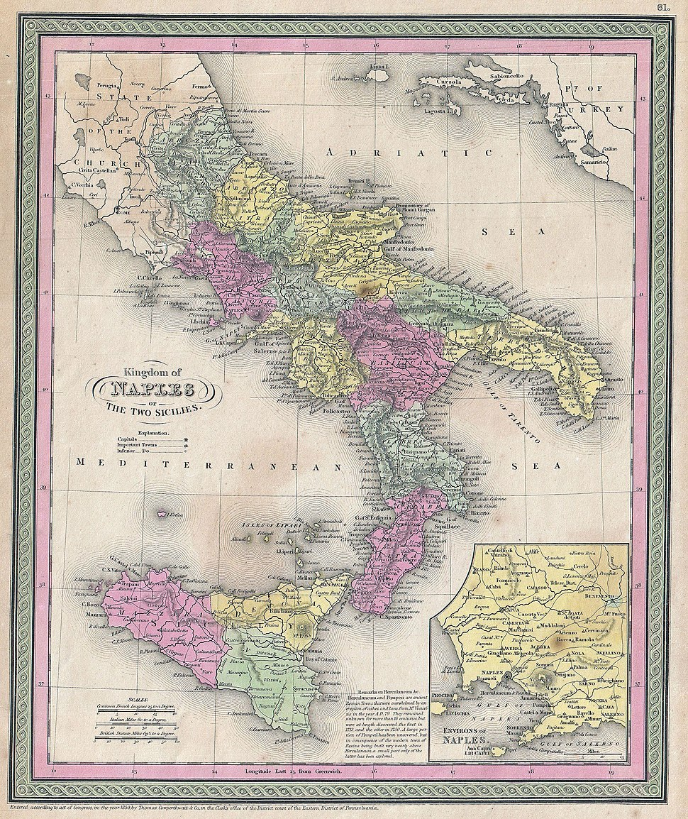 1853 Mitchell Map of Southern Italy ( Naples, Sicily ) - Geographicus - ItalySouth-mitchell-1850