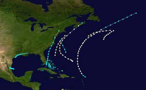 1863 Atlantic hurricane season - Image: 1863 Atlantic hurricane season summary map
