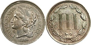 Three-cent piece (United States coin) - Image: 1866 3 Cent Nickel