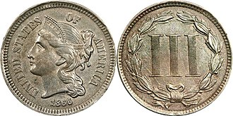 Three-cent piece - Image: 1866 3 Cent Nickel