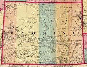 Emigrant Trail in Wyoming - 1872 Wyoming Territory, with Emigrant Trail and road to the Montana gold mines marked