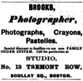 1884 Brooks photographer advert 13 Tremont Row in Boston USA.png