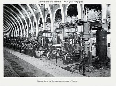 A factory machinery exposition in Torino, set in 1898, during the period of early industrialization, National Exhibition of Torino, 1898 1898-illustraz-italiana-officina-Zopfi-pag-152-foto2.jpg