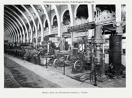 A factory machinery exposition in Turin, set in 1898, during the period of early industrialization, National Exhibition of Turin, 1898 1898-illustraz-italiana-officina-Zopfi-pag-152-foto2.jpg
