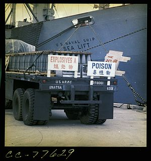267th Chemical Company - USNS Sealift with nerve agent at Tengan Pier during operation Red Hat, Okinawa, July 1971