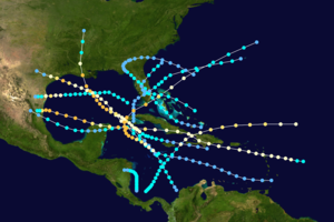1909 Atlantic hurricane season - Image: 1909 Atlantic hurricane season summary map