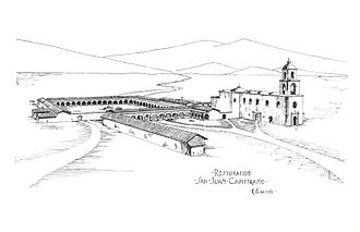 "Mission San Juan Capistrano - Artist Rexford Newcomb's conception of Mission San Juan Capistrano in its heyday. The intact ""Great Stone Church"" is depicted at the far right. No contemporary drawing or painting of the Mission was ever completed."