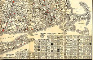 U.S. Route 5 in Connecticut - Image: 1922 New England road map 2