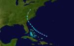 1927 Atlantika tropika ŝtormo 5 track.png