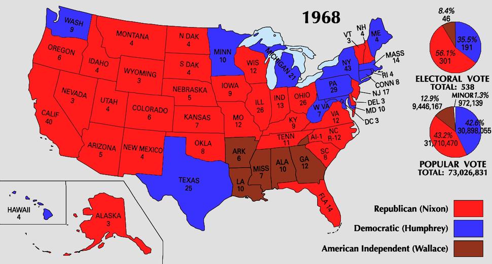1968 Electoral Map