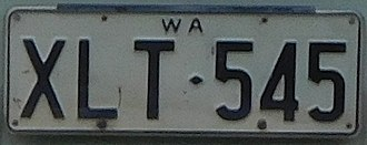 Vehicle registration plates of Western Australia - Image: 1968 Western Australia registration plate XLT♦545