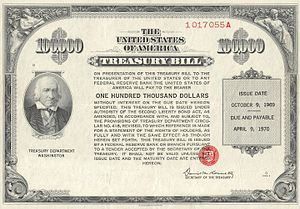 United States Treasury security - Image: 1969 $100K Treasury Bill (front)
