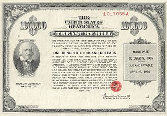 Petrodollar recycling - Image: 1969 $100K Treasury Bill (front)