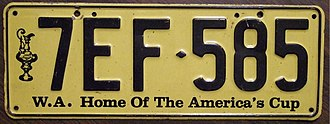 "1987 America's Cup - ""Home of the America's Cup"" vehicle registration plate"