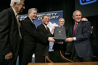 Nuclear renaissance - George W. Bush signing the Energy Policy Act of 2005, which was designed to promote US nuclear reactor construction, through incentives and subsidies, including cost-overrun support up to a total of $2 billion for six new nuclear plants.