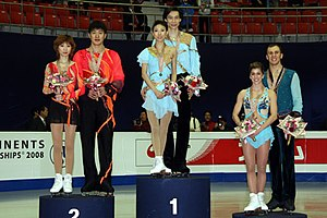 2008 Four Continents Figure Skating Championships - The pairs' podium. From left: Zhang Dan / Zhang Hao (2nd), Pang Qing / Tong Jian (1st), Brooke Castile / Benjamin Okolski (3rd).