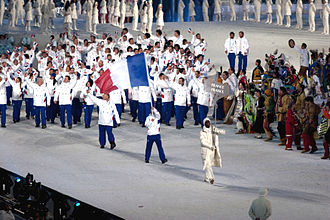 France at the 2010 Winter Olympics - The athletes entering the stadium during the opening ceremonies.