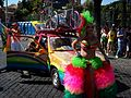 2012-06-23 Roma Gay Pride - TS model presenting a multicoloured Renault 5.jpg