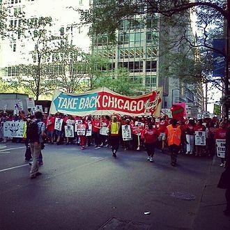 Chicago Teachers Union - Striking members of the Chicago Teachers Union marching through the Chicago Loop on September 11, 2012.