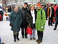 2013-03-30 Ostermarsch Hannover vom Kröpcke aus, Besucher aus der Gruppe Poesie, von links die Autoren Monika Garn-Hennlich, Wulf Hühn, Hede Nolte-Baigger und Christa Eschmann.jpg