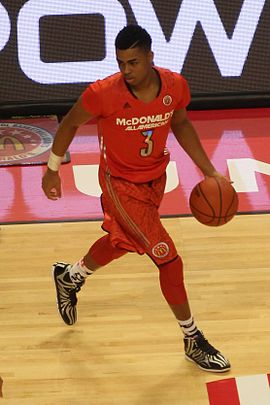 Russell during the 2014 McDonald's All-American Game 20140402 MCDAAG D'Angelo Russell in the half court.JPG